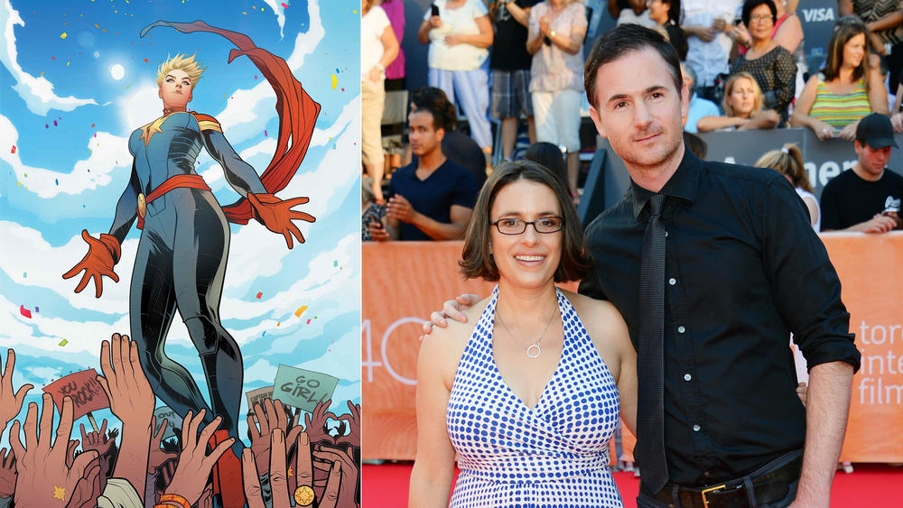 "Anna Boden and Ryan Fleck are set to helm ""Captain Marvel."" (Elizabeth Torque / Marvel; Evan Agostini / Invision/AP)"