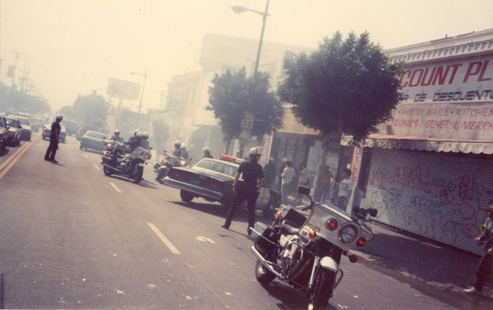 """Police in a State of Alert"" by Armando Cabrera, from a show about Los Angeles in 1992 at Jean Deleage Gallery."