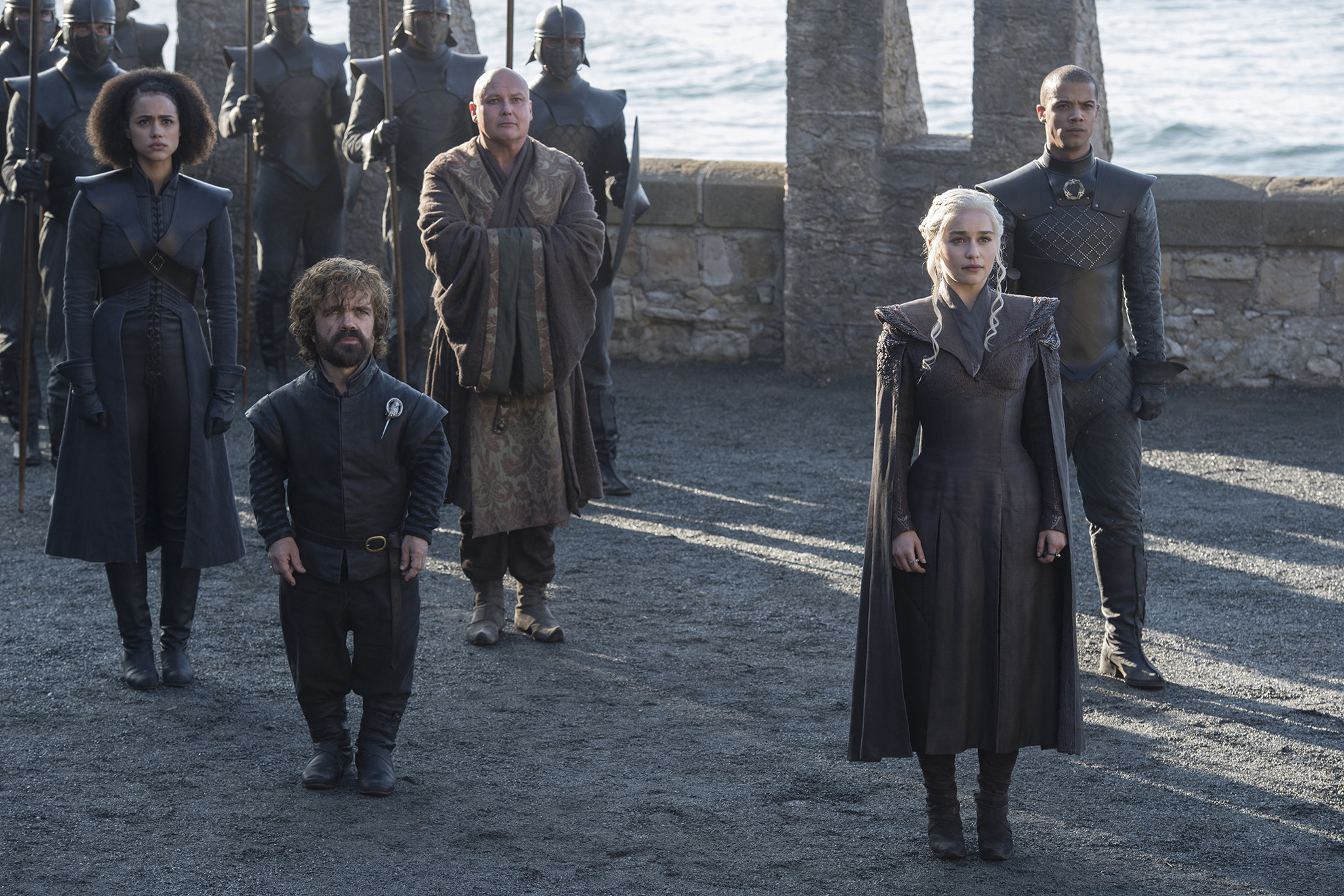 "Nathalie Emmanuel as Missandei, left, Peter Dinklage as Tyrion Lannister, Conleth Hill as Varys, Emilia Clarke as Daenerys Targaryen and Jacob Anderson as Grey Worm in ""Game of Thrones."" (Macall B. Polay / HBO)"