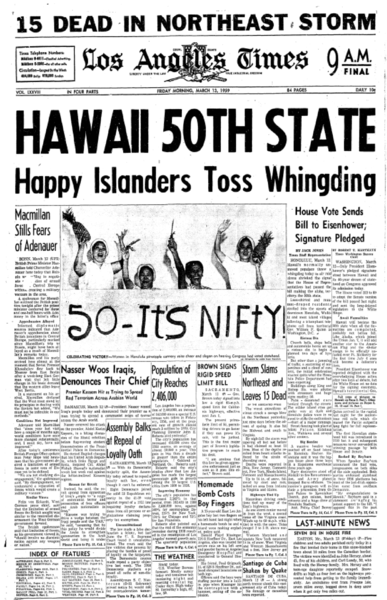The front page of the L.A. Times when Hawaii won approval to become a U.S. state (Los Angeles Times)