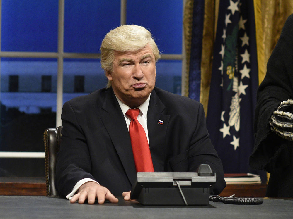 "Alec Baldwin as Donald Trump on ""Saturday Night Live."" (Will Heath / NBC via AP)"