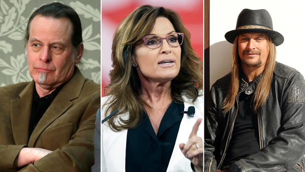 The White House visit this week by Ted Nugent, left, Sarah Palin and Kid Rock was too just too good for late-night TV to pass up. (Pablo Martinez Monsivais / Associated Press; Cliff Owen / Associated Press; Jennifer S. Altman / For The Times)