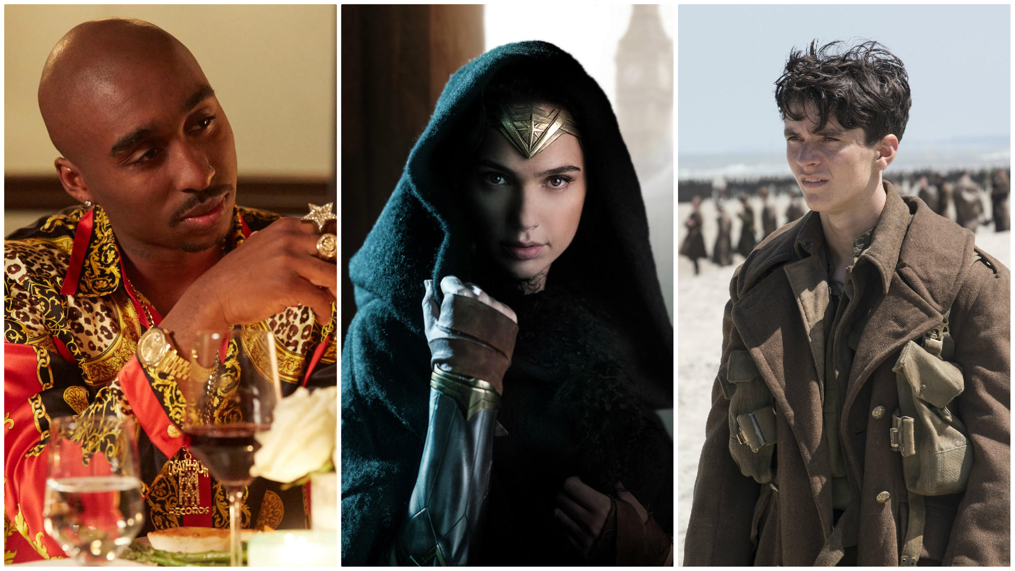 Among the summer's most eagerly awaited films are, from left, 'All Eyez On Me,' 'Wonder Woman' and 'Dunkirk.' (From left: Quantrell Colbert / Codeblack Films; Clay Enos / Warner Bros.; Melinda Sue Gordon / Warner Bros.)
