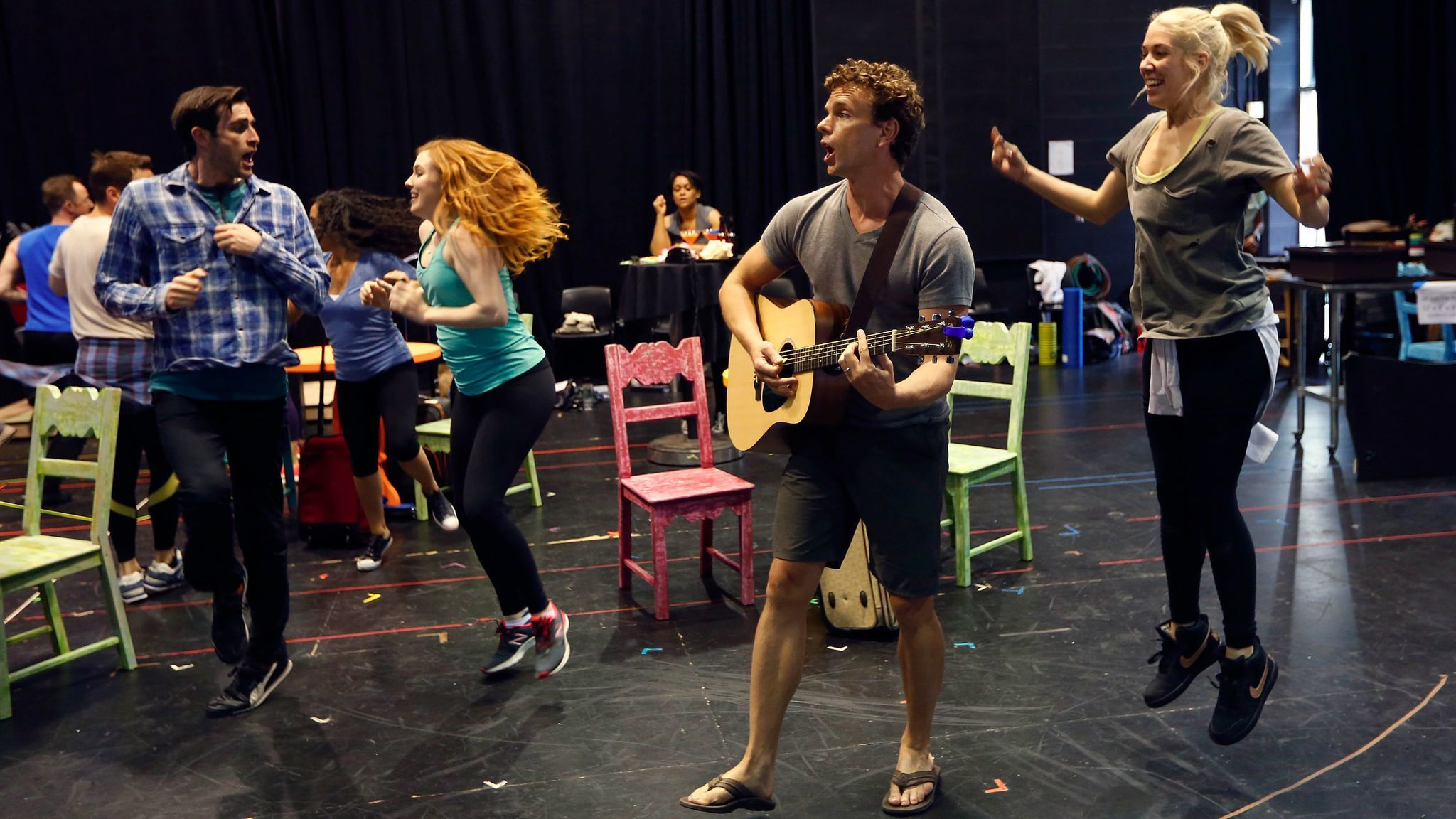 "Paul Alexander Nolan (center) and fellow cast members of La Jolla Playhouse's ""Escape to Margaritaville."""