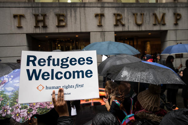 Protesters rally against President Trump's executive order limiting travel from several Muslim-majority countries. (Drew Angerer/Getty Images)