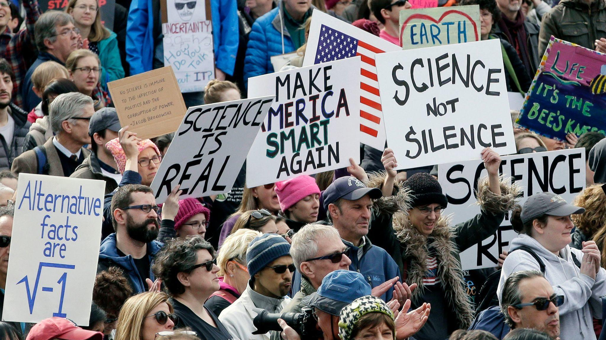 Nearly naked Trump, science experiments and other things our reporters found at L.A.'s March for Science