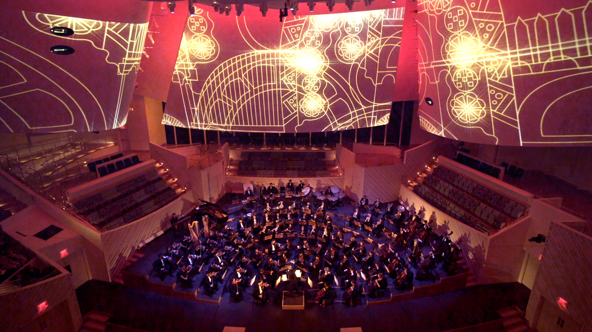An animation installation designed by Patterson + Reckinger, with imagery by Ria Ama, at Miami's New World Symphony in 2011.