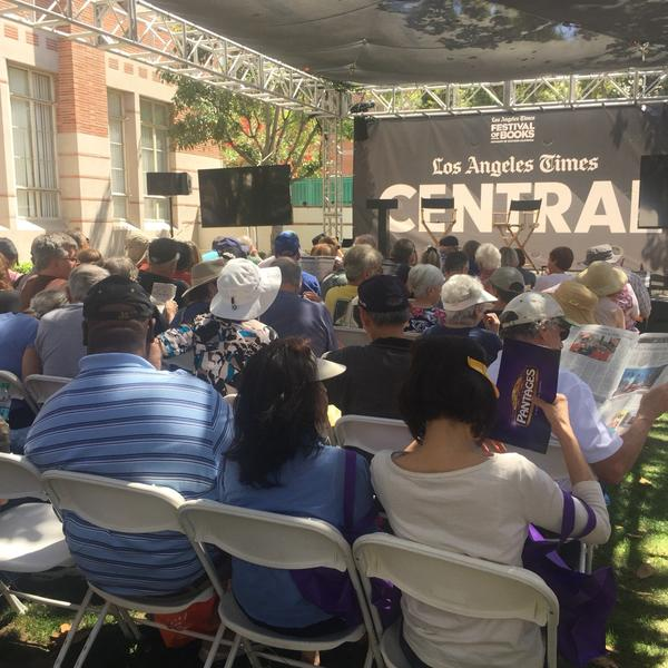 L.A. Times Central stage before Lopez and Hiltzik's talk. (Julie Westfall / Los Angeles Times)