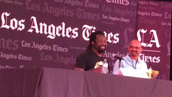 Marlon James, left, and Davan Maharaj. (Carolyn Kellogg / Los Angeles Times)