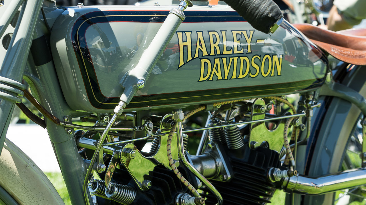 Vintage machines, such as this restored Harley-Davidson, compete for prizes at the annual Quail Motorcycle Gathering.