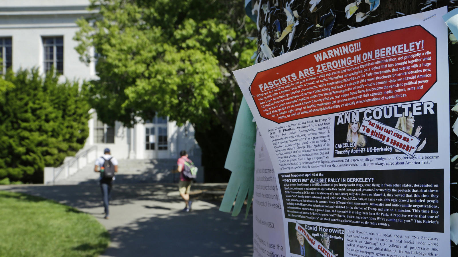 A leaflet detailing the controversy over a speech by Ann Coulter is stapled to a message board near Sproul Hall on the UC Berkeley campus. (Associated Press)