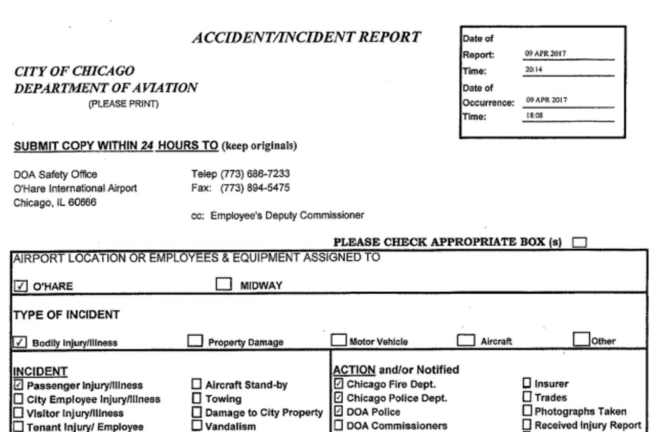 Chicago Aviation Police report on United incident Chicago Tribune – Fire Incident Report
