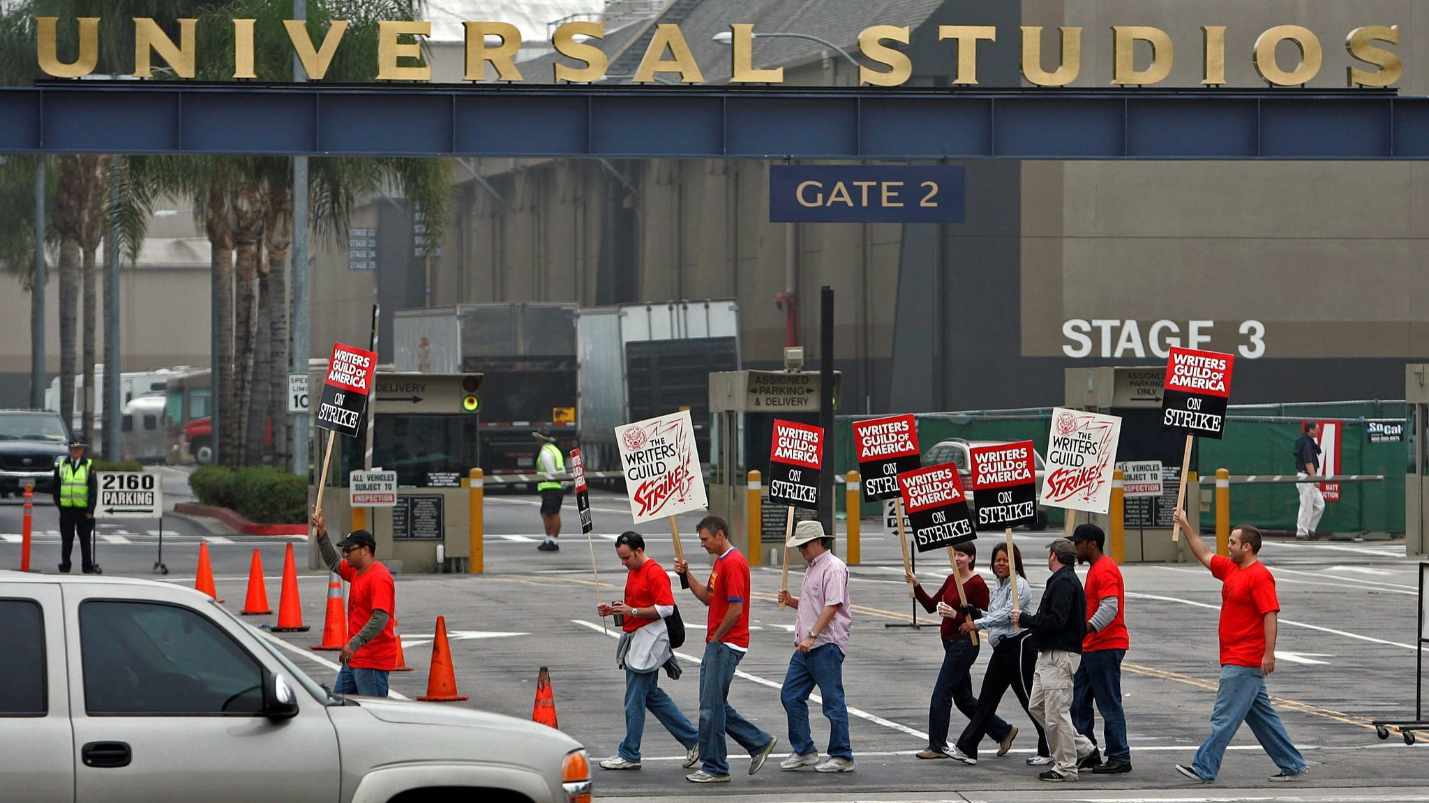Writers Guild of America strikers in 2007 picket outside Universal Studios.