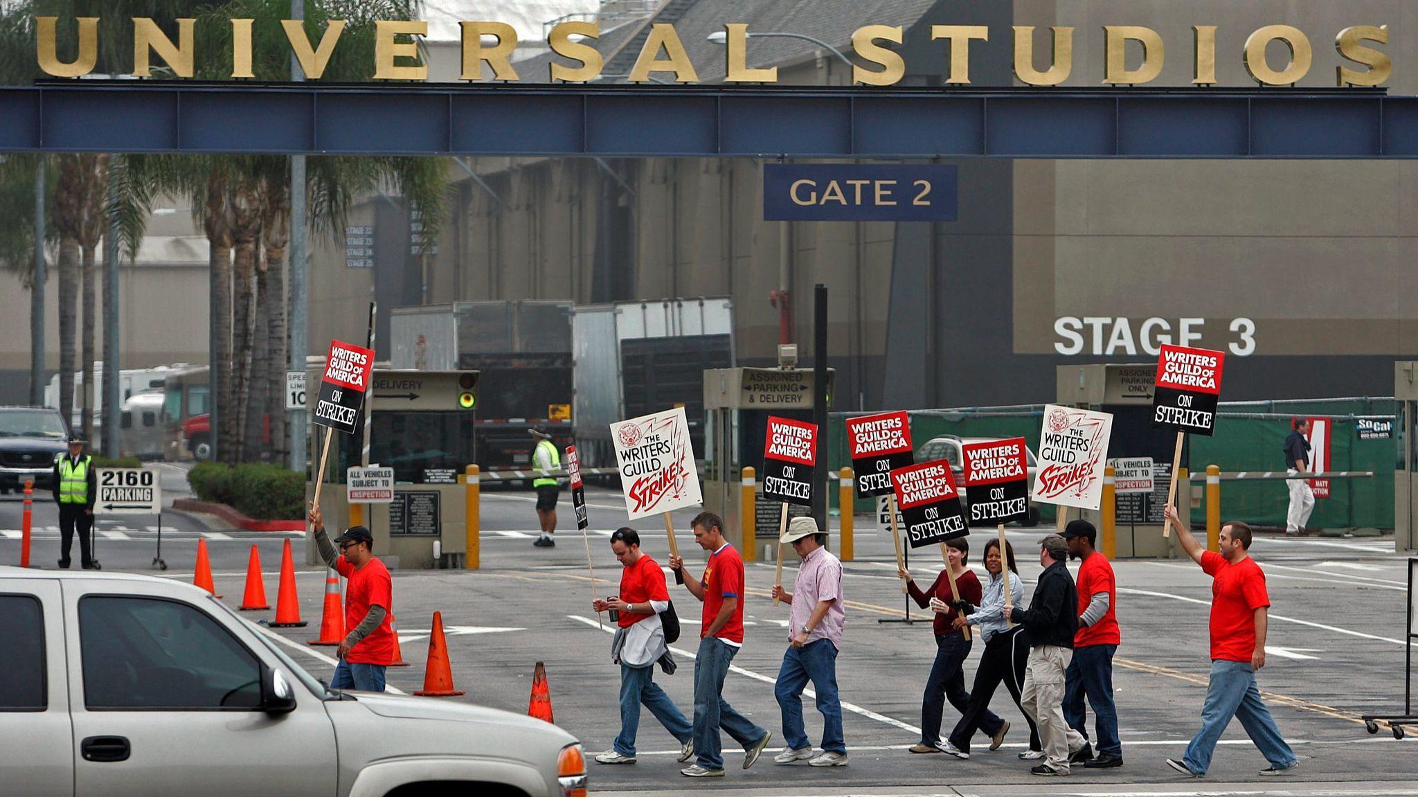 Writers Guild of America strikers in 2007 picket outside Universal Studios.