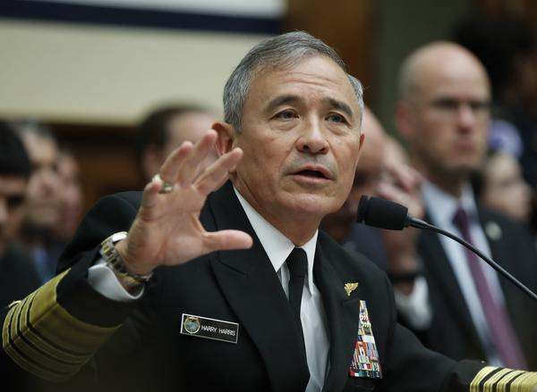 Adm. Harry Harris, head of the U.S. Pacific Command, testifies at a House Armed Services Committee hearing on North Korea on Wednesday. (Manuel Balce Ceneta / Associated Press)