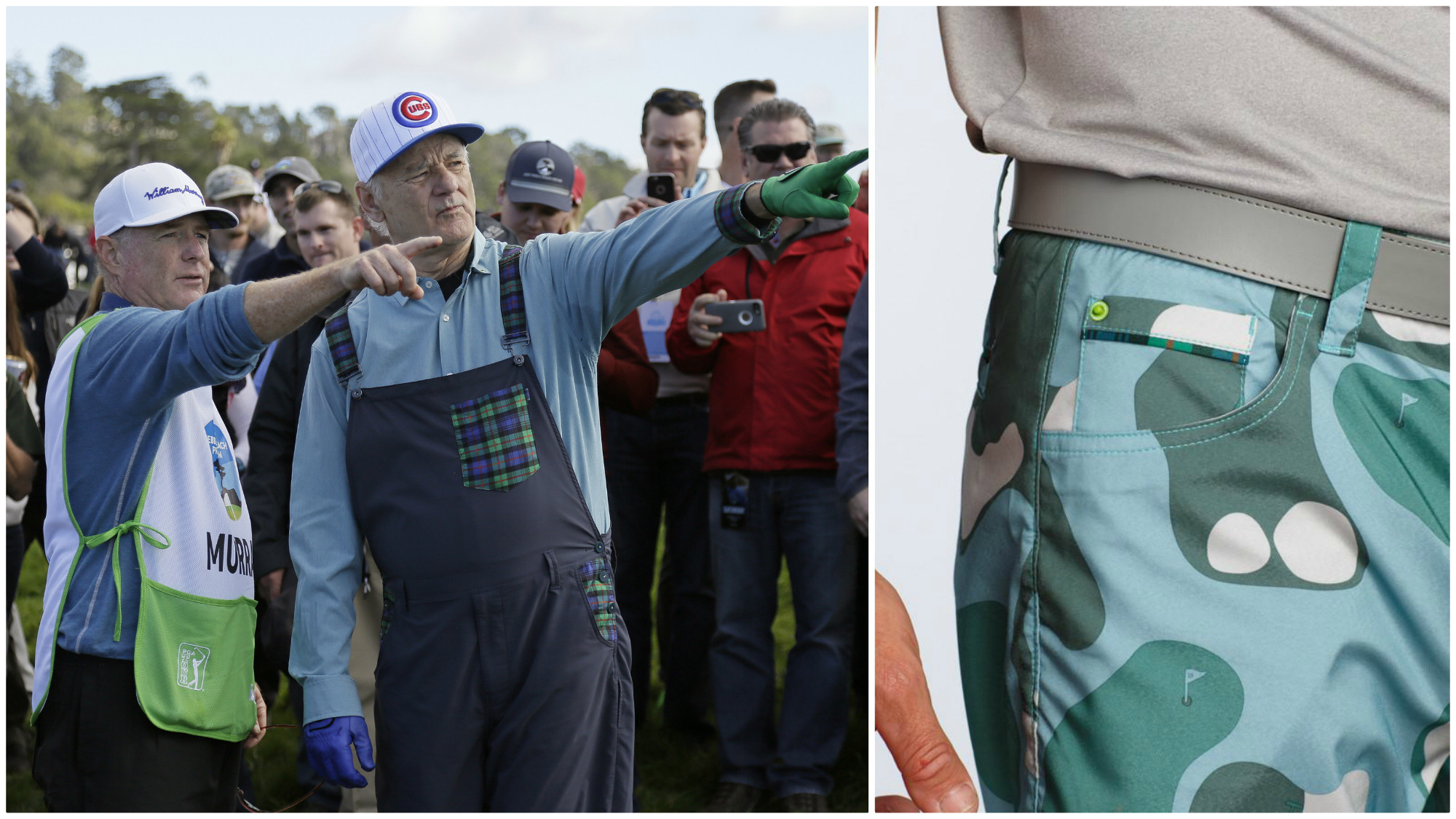 At left, Bill Murray wears a pair of custom overalls bearing a red, green and navy plaid pattern called the Murray family tartan. The pattern appears somewhere on every piece in the collection such as the edge of the ballmarker pocket of the Bunker Camo shorts, right.
