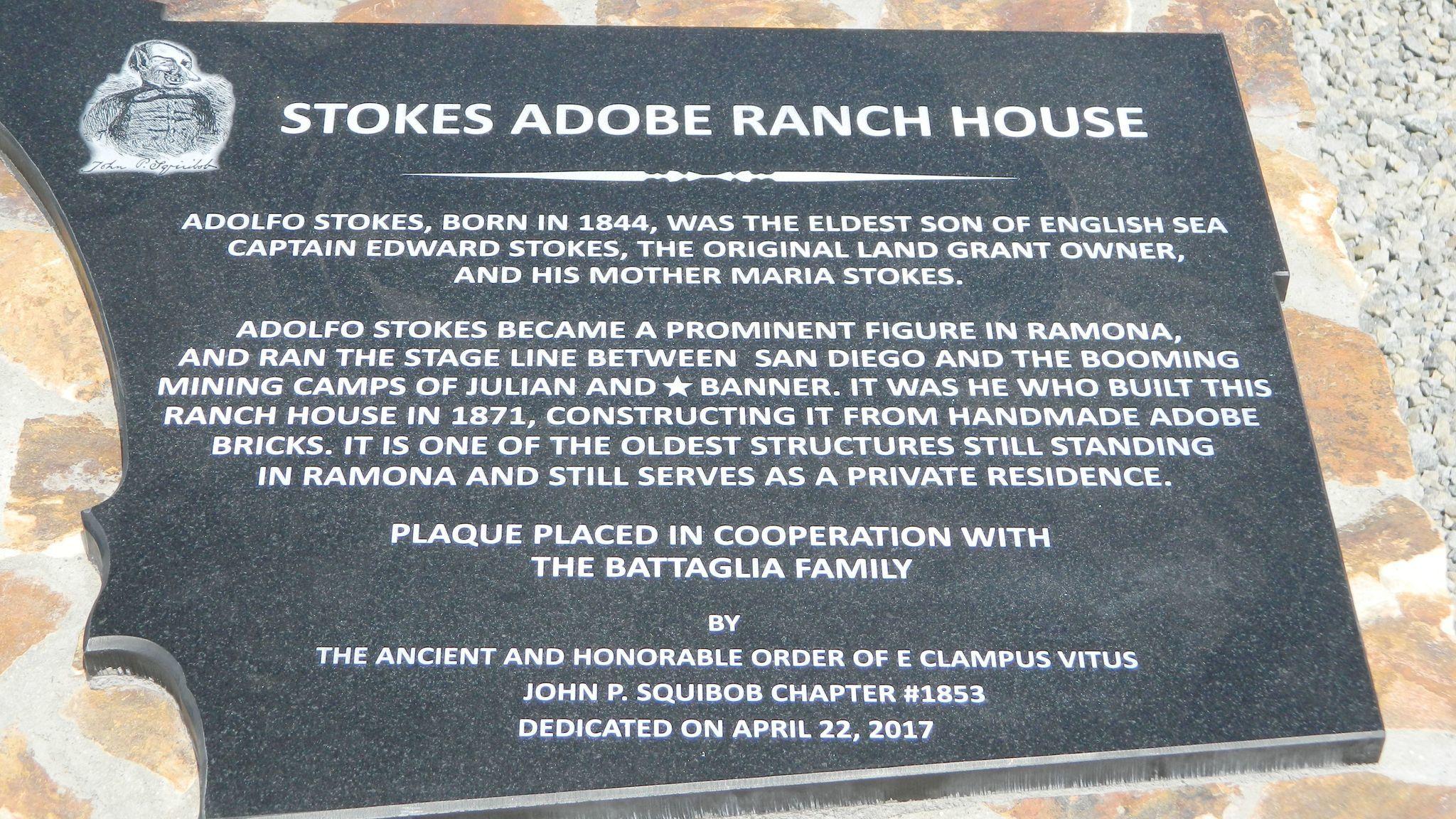 The Stokes Adobe Ranch House plaque.