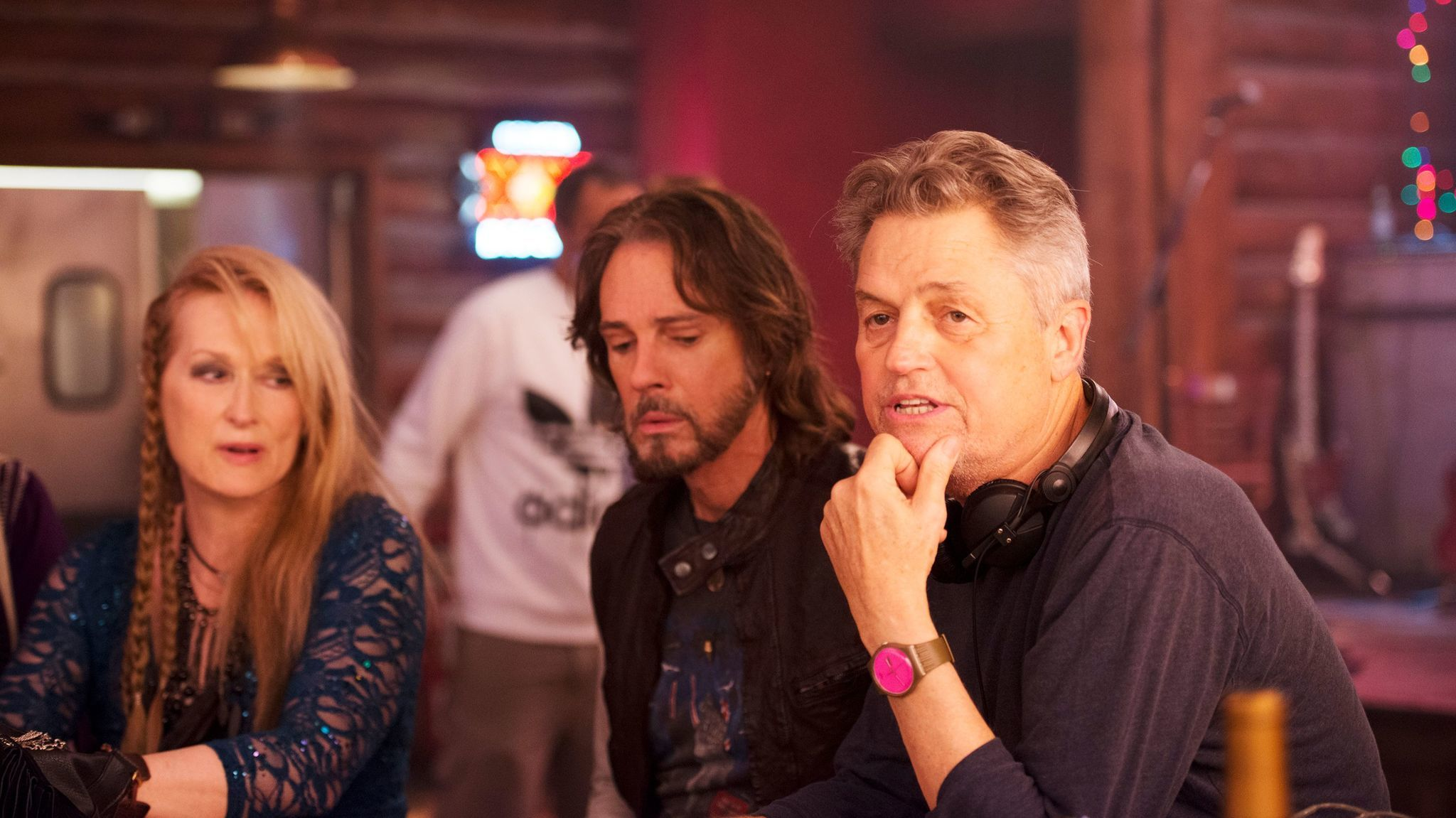"Meryl Streep, Rick Springfield and director Jonathan Demme on the set of ""Ricki and the Flash."""