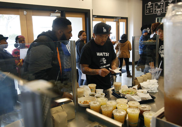 Roy Choi at work in his Watts restaurant Locol. (Los Angeles Times)