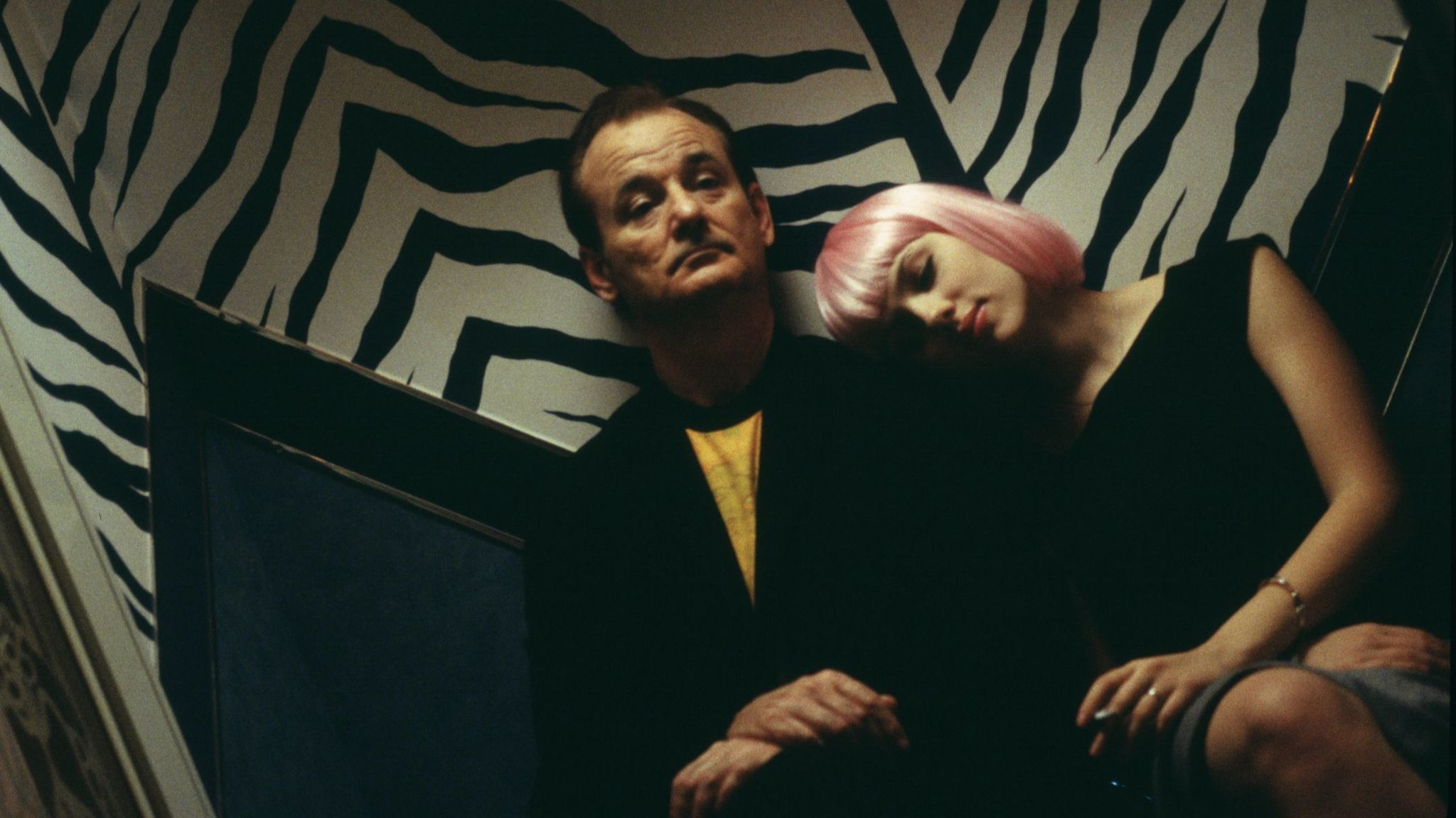 """The wallpaper behind Bill Murray and Scarlett Johansson in a scene from Sofia Coppola's 2003 film """"Lost in Translation"""" inspired a print under consideration for the spring 2018 William Murray Golf collection."""