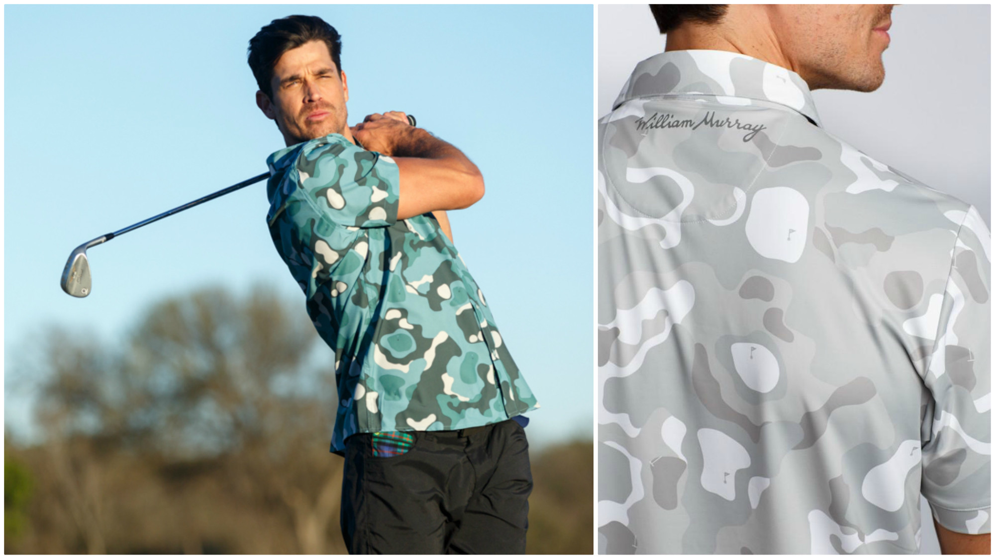 """A closer look at the """"Bunker Camo"""" print from the spring 2017 William Murray Golf collection."""