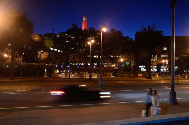 Coit Tower, illuminated in red, March 2017. (Christopher Reynolds / Los Angeles Times)