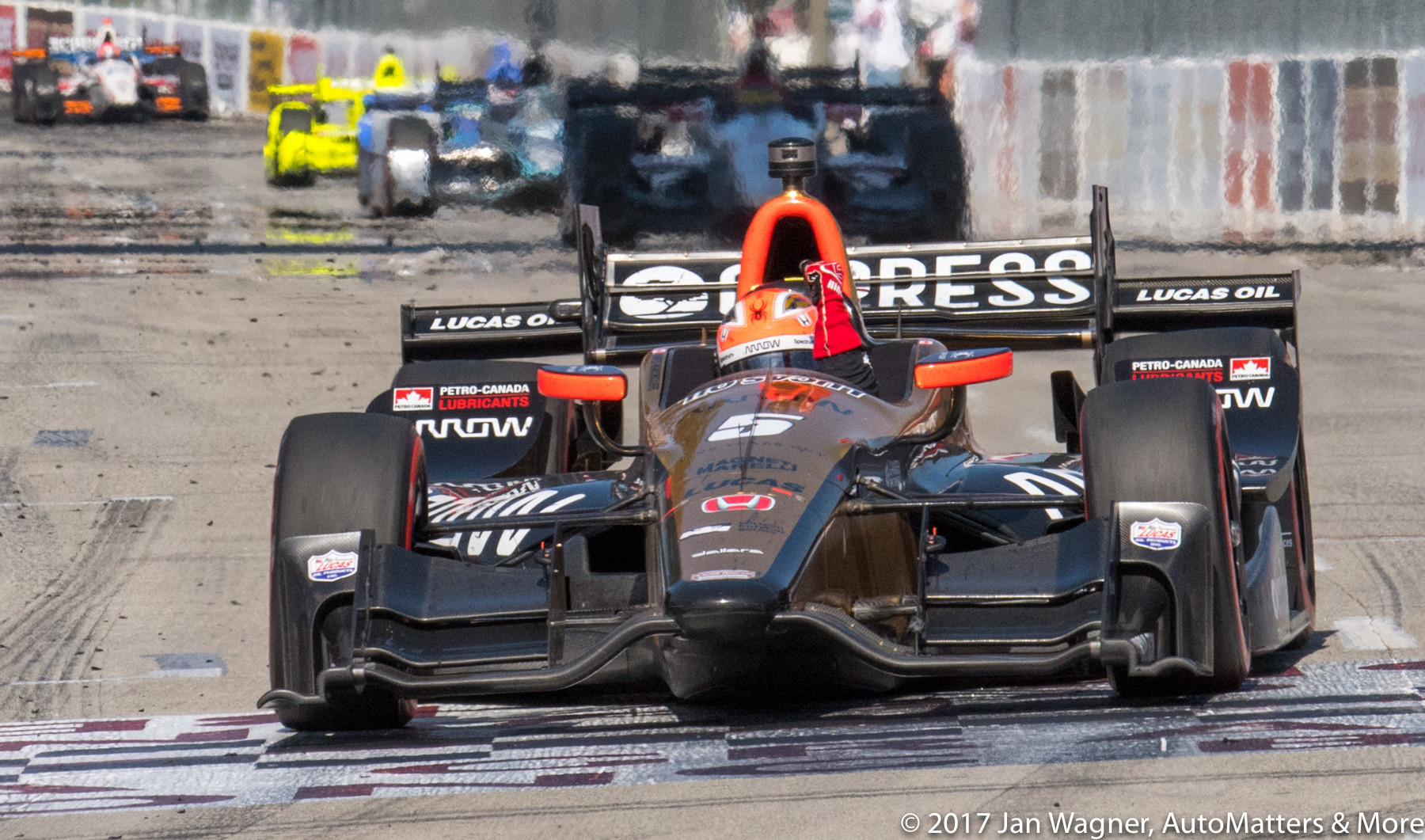 James Hinchcliffe (#5) winning the  2017 IndyCar Toyota Grand Prix of Long Beach.