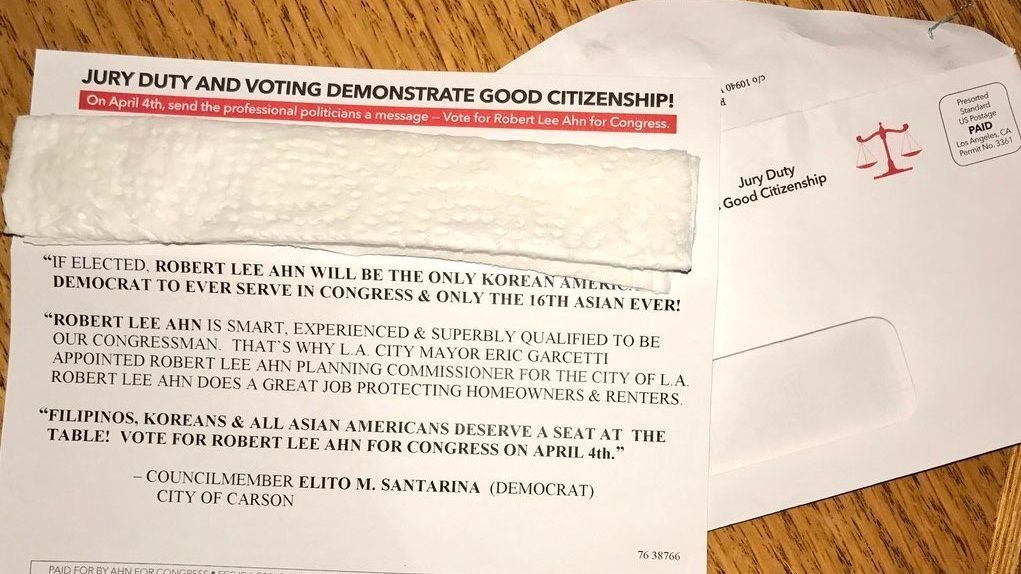 A mailer sent by Ahn to a Times reader.