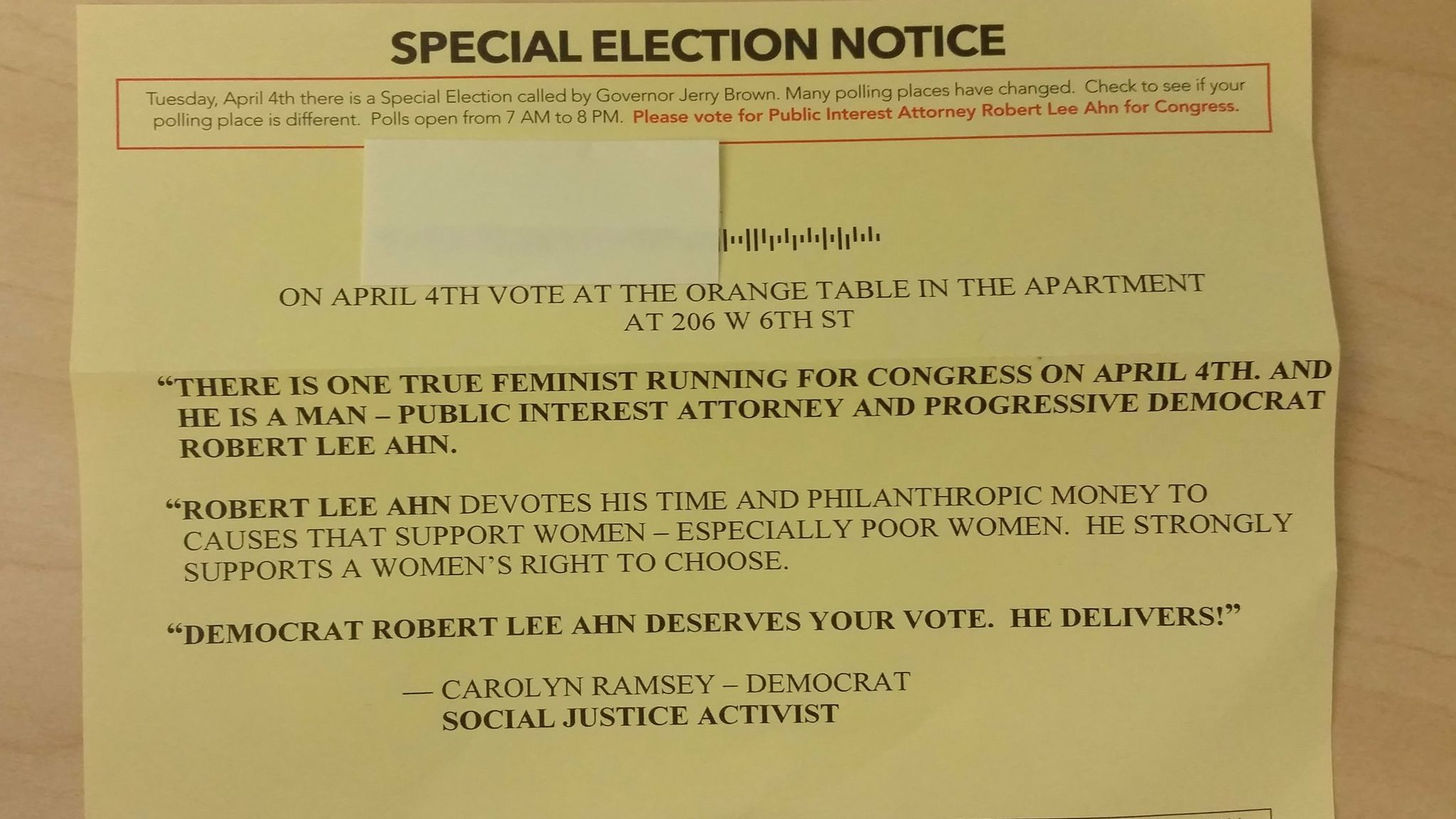 "Some of Ahn's mailers claimed to have ""New Polling Place Information."""
