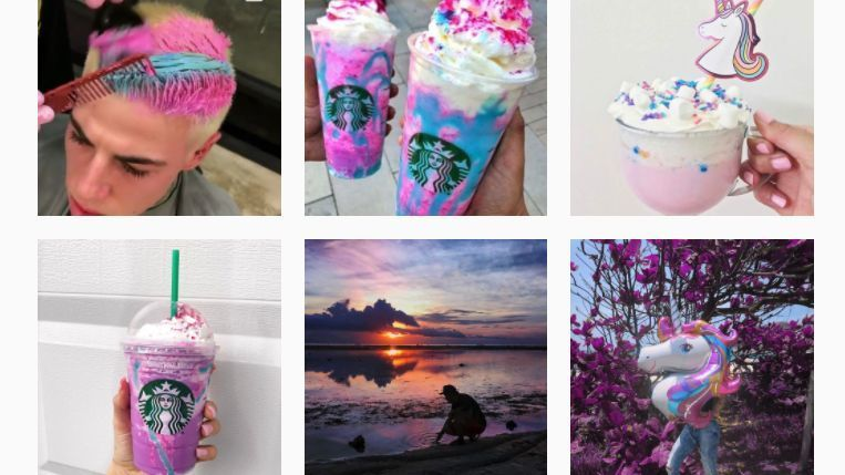 Just a few of the more than 150,000 posts tagged #unicornfrappuccino.