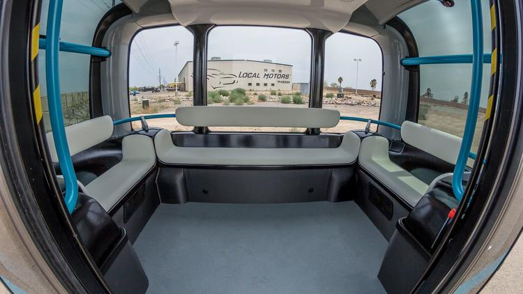 Interior of the Olli driverless shuttle, built by Local Motors.