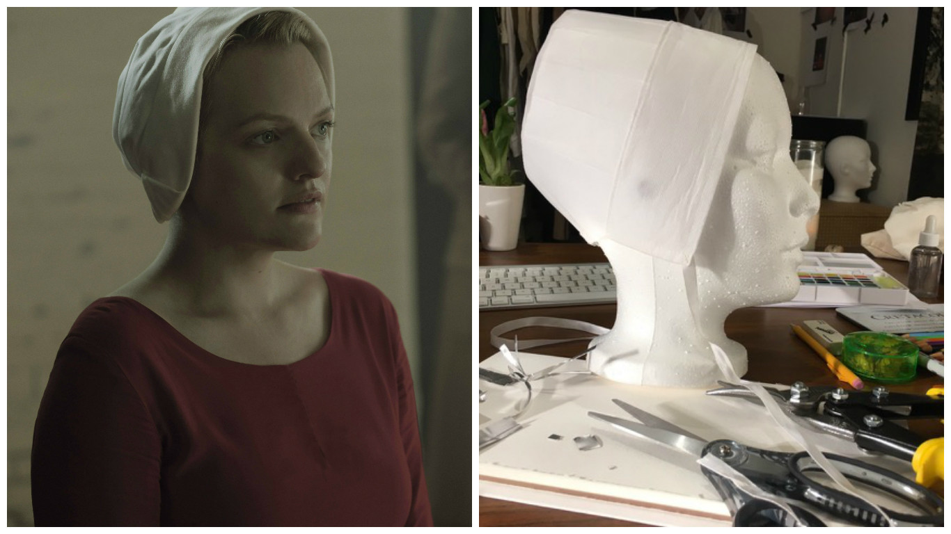 Elisabeth Moss wears the final version of the handmaid's caplet on the left vs. an early prototype on the right.