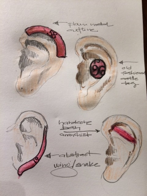 Early sketches for eartags.