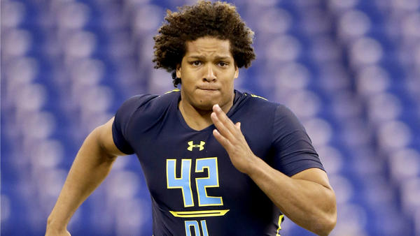 Notre Dame defensive end Isaac Rochell runs the 40-yard dash at the NFL combine in March. (Michael Conroy / Associated Press)