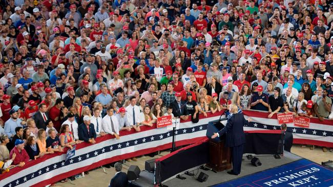 "President Donald Trump addresses a ""Make America Great Again"" rally in Harrisburg, Pa., on April 29."