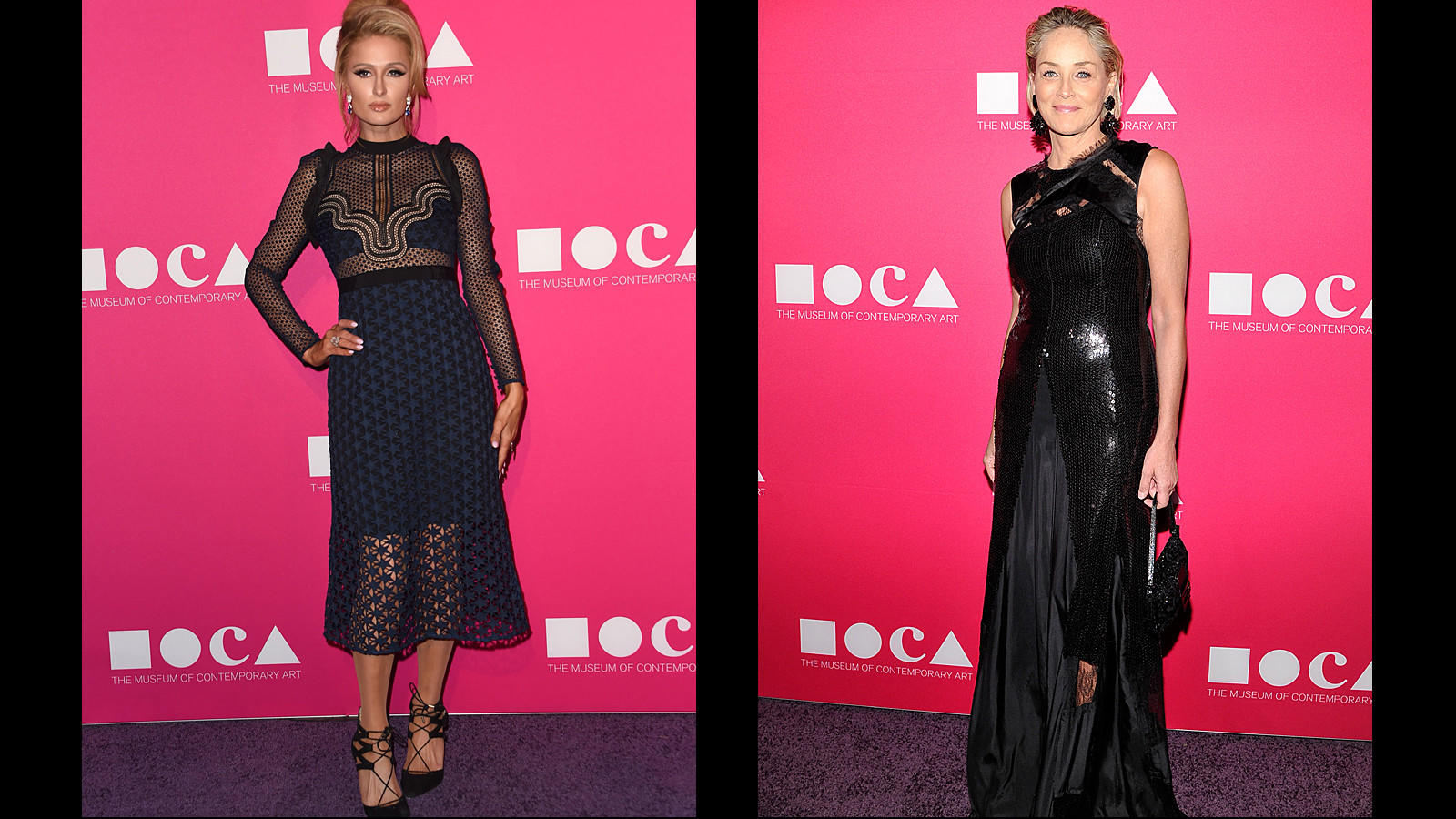 Paris Hilton and Sharon Stone (Chris Delmas /AFP/Getty Images | John Sciulli / Getty Images for MOCA)