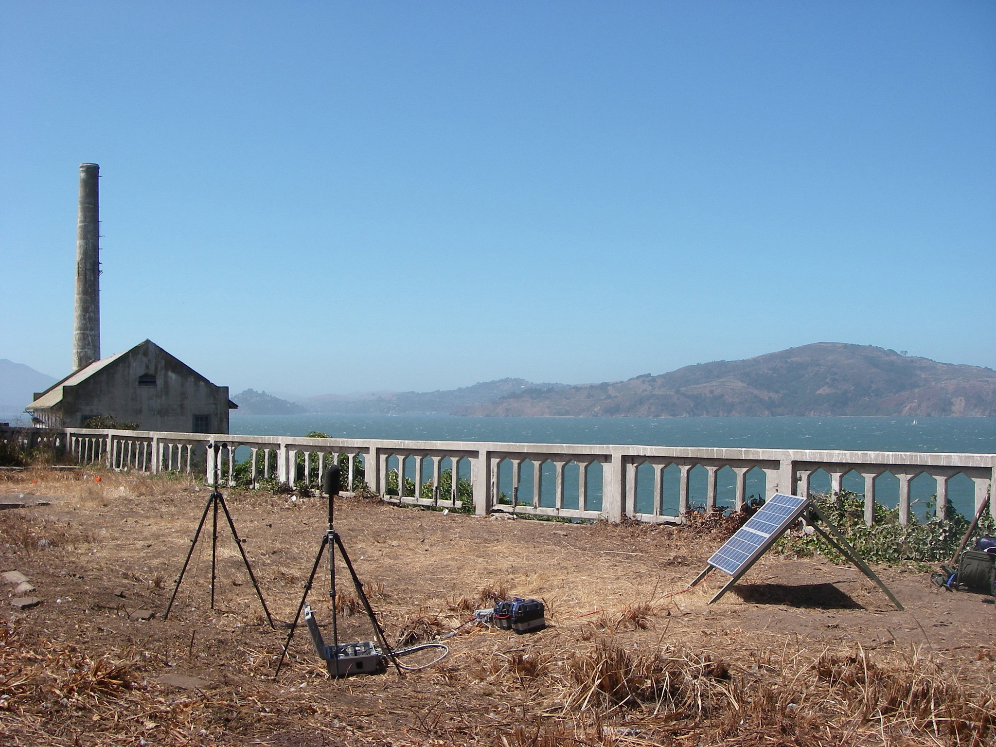 An acoustic recording station captures sound conditions on Alcatraz Island in the San Francisco Bay's Golden Gate National Recreation Area.