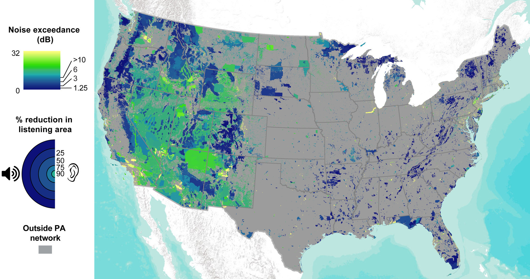 This map shows the amount that anthropogenic noise increases sound levels above the natural level -- or noise exceedance -- in protected areas across the United States.