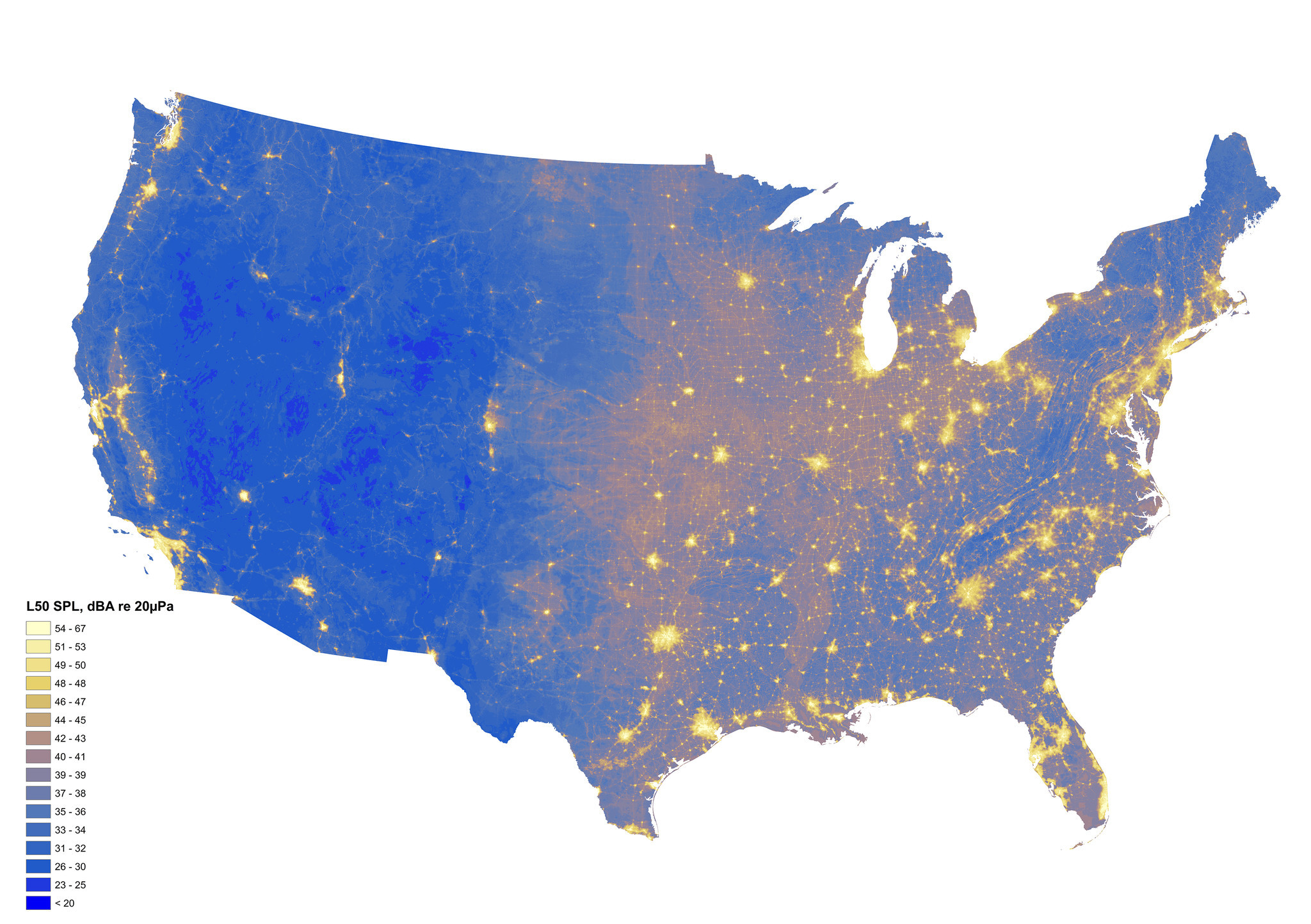 Map of projected ambient sound levels for a typical summer day across the contiguous United States, where lighter yellow indicates louder conditions and darker blue indicates quieter conditions.