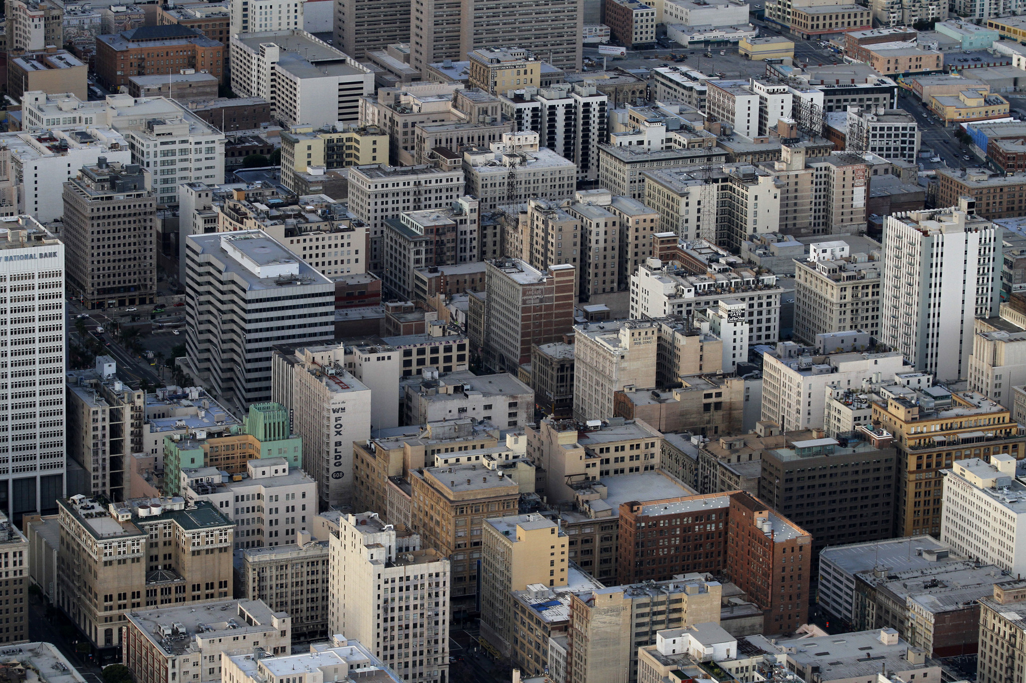 An aerial view shows downtown Los Angeles in 2010.