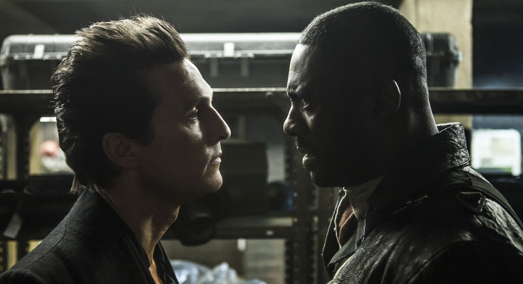 """Matthew McConaughey as Walter, left, and Idris Elba as Roland in """"The Dark Tower."""" (Ilze Kitshoff / Columbia Pictures)"""