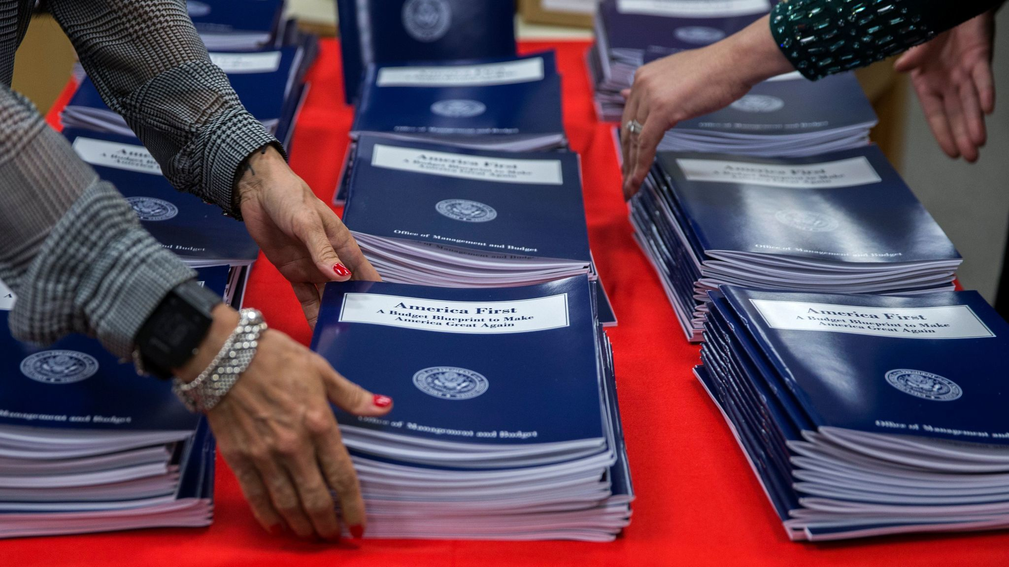 Copies of President Trump's America First budget at the Government Publishing Officebookstore in Washington, D.C.