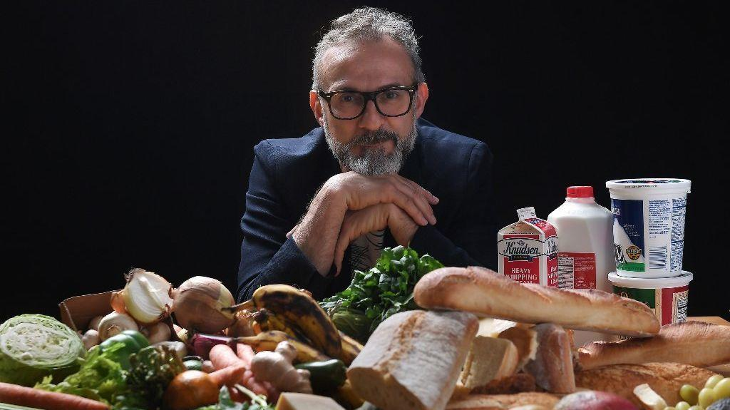 Chef and Food for Soul founder Massimo Bottura visits the Los Angeles Times Test Kitchen and studio on May 1 to discuss food waste and tips for using leftover ingredients. (Christina House / For The Times)