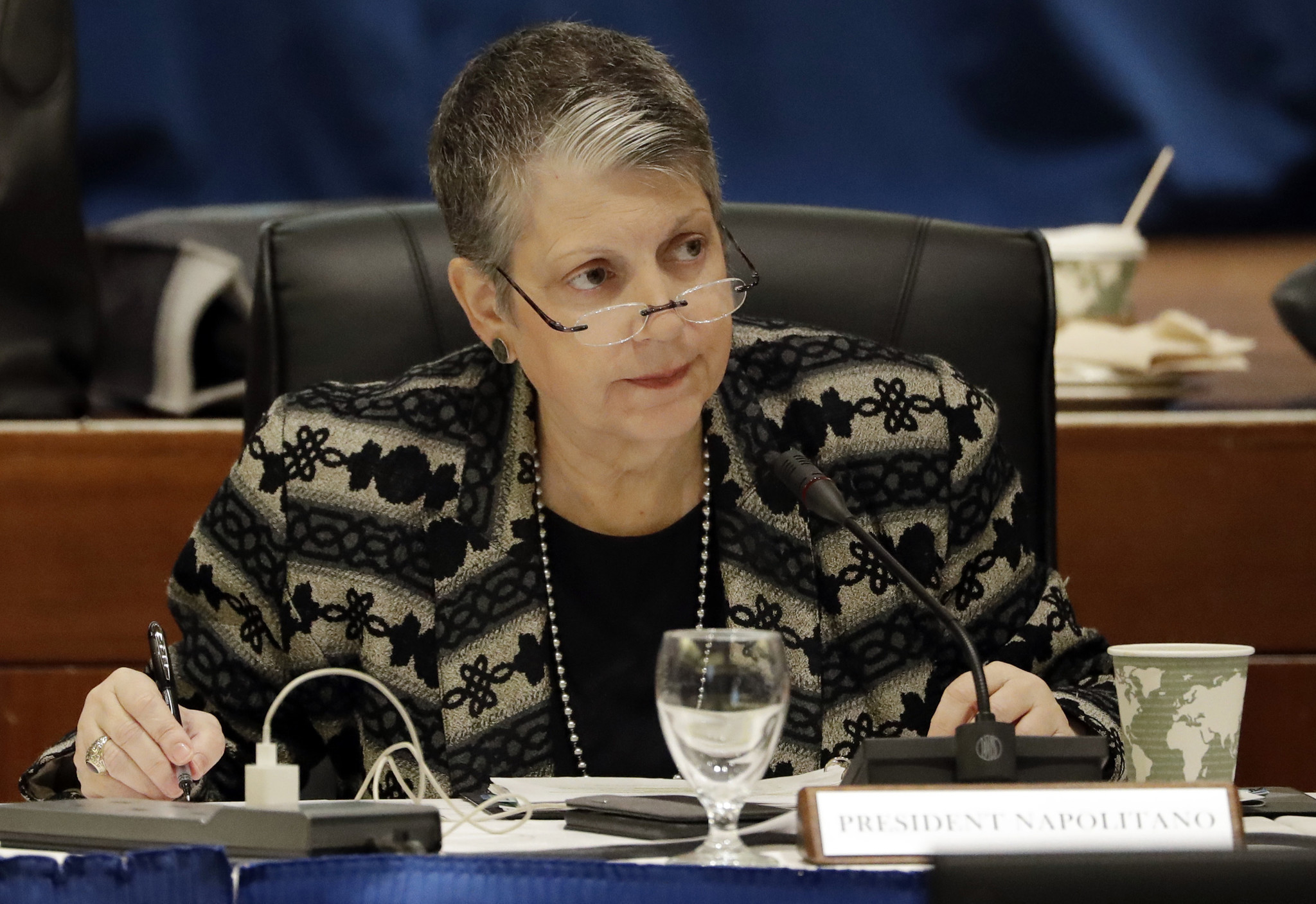University of California President Janet Napolitano attends a UC Board of Regents meeting in January. (Marcio Jose Sanchez /  Associated Press)