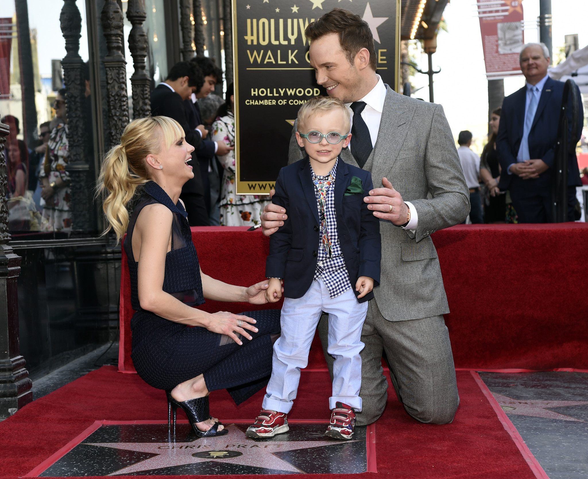 Actor Chris Pratt is joined by his wife, actress Anna Faris, and their son, Jack, during a ceremony to award Pratt a star on the Hollywood Walk of Fame on Friday, April 21, 2017, in Los Angeles.