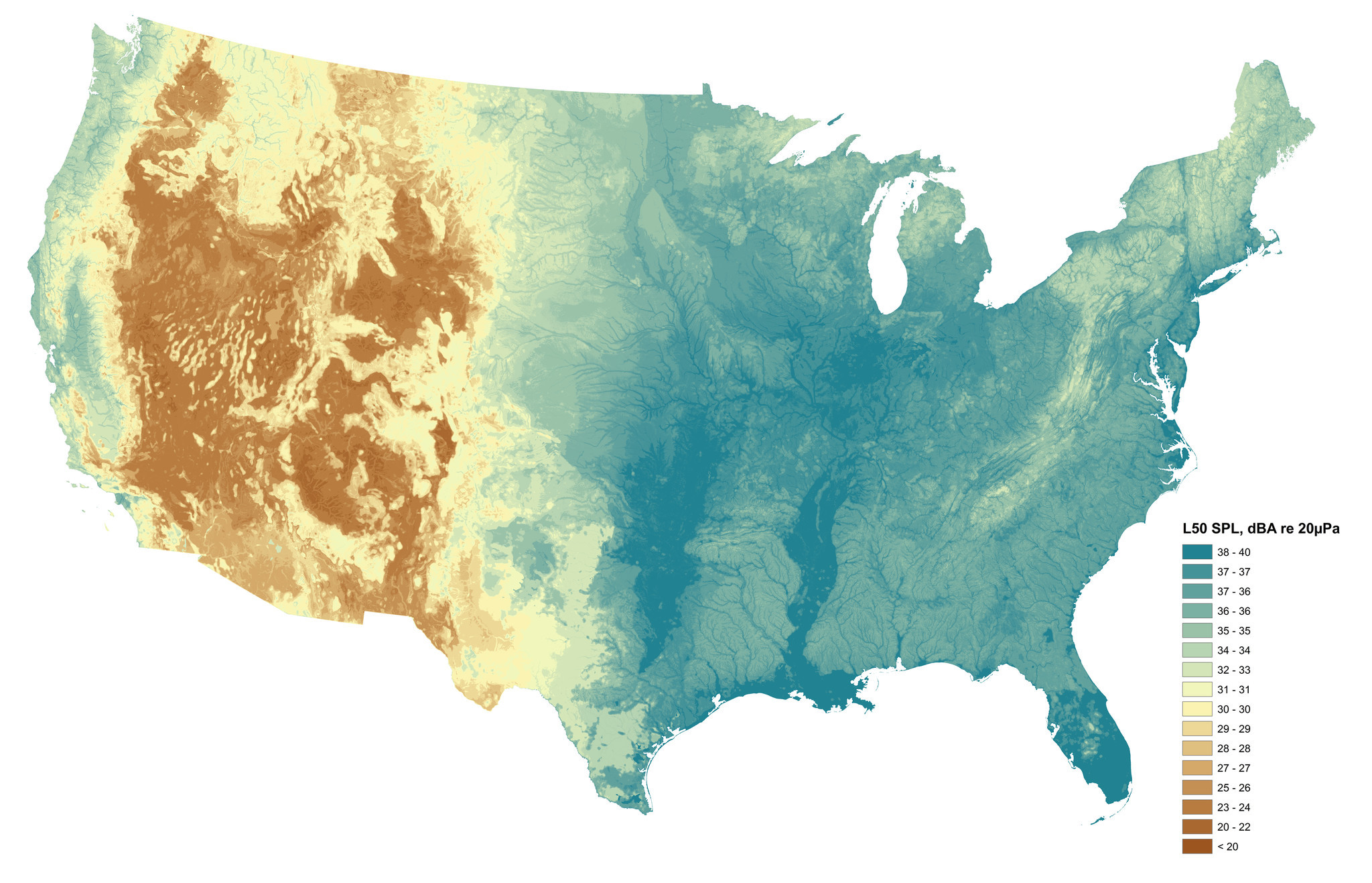 This map shows sound levels at natural conditions. Wetter areas with more vegetation tend to have higher sound levels. This is due to the sounds of wind blowing through plants, flowing water and more animals such as birds and frogs making vocalizations.