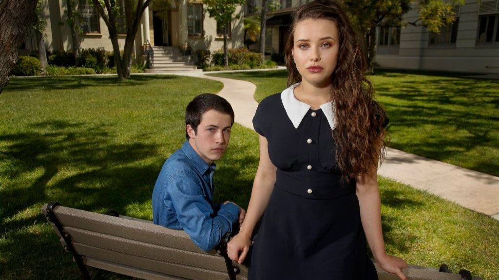 "Dylan Minnette, left, and Katherine Langford, stars of ""13 Reasons Why."" (Kirk McKoy / Los Angeles Times)"