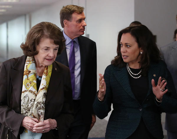 California Sens. Dianne Feinstein, left, and Kamala Harris. (Mark Wilson / Getty Images)