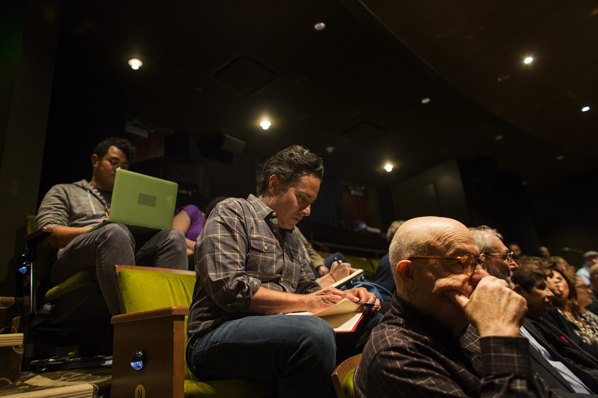 "LOS ANGELES, CA - APRIL 25, 2017 : Playwright Rajiv Joseph takes notes during intermission on opening night of a preview performance for his new play ""Archduke"" on April 25, 2017 at the Mark Taper Theatre in Los Angeles, California.(Gina Ferazzi / Los Angeles Times)"