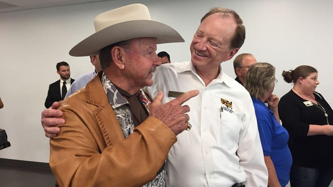 Ron Bergeron, left, the Broward County entrepreneur, land developer and member of the Florida Fish and Wildlife Conservation Commission. At right, Bergeron's pal Rick Case, the owner of The Rick Case Automotive Group, which has 16 automobile dealer